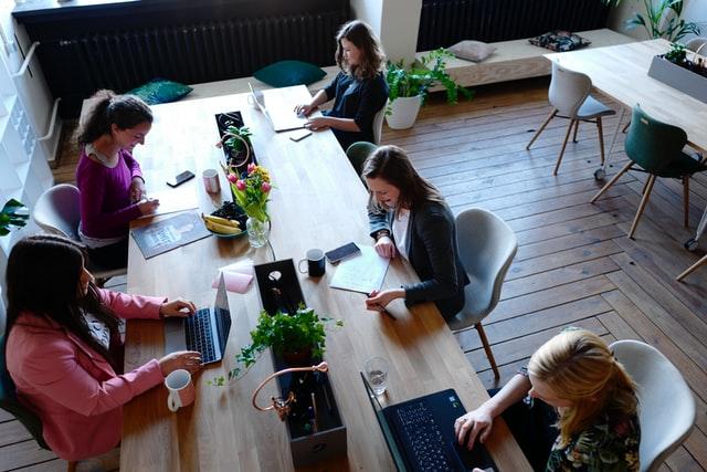 Leaders developing business plan
